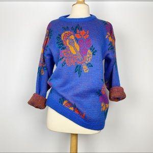 Vtg 80s 90s Esprit Sport floral oversized sweater